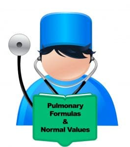 pulmonary formulas and normal values